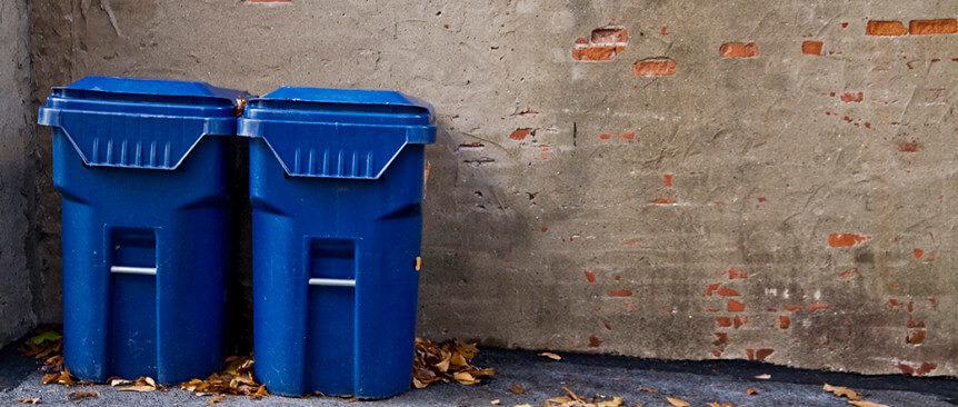 two clean trash bins